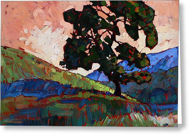 Salmon Paintings Greeting Cards - Salmon Sky Greeting Card by Erin Hanson
