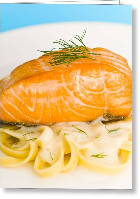 Noodles Greeting Cards - Salmon steak on pasta decorated with dill closeup Greeting Card by Ulrich Schade