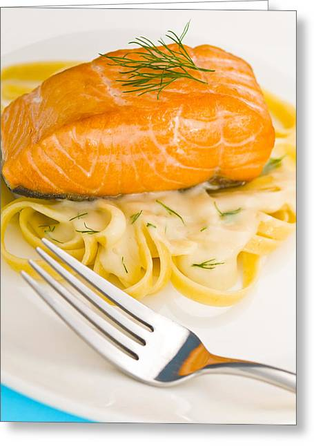 Noodles Greeting Cards - Salmon steak on pasta decorated with dill Greeting Card by Ulrich Schade