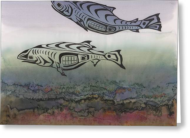 Stream Tapestries - Textiles Greeting Cards - Salmon Stream Greeting Card by Carolyn Doe