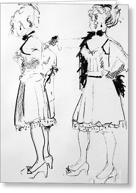 Saloons Greeting Cards - Saloon girls Greeting Card by Joanne Claxton