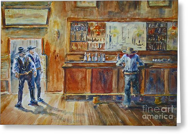 Wild Bill Hickock Greeting Cards - Saloon Showdown Greeting Card by Betsy Aguirre