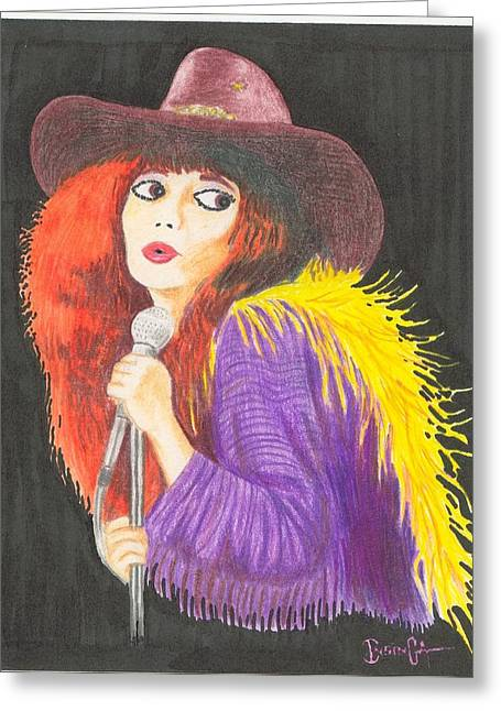 Lounging Pastels Greeting Cards - Saloon Singer Greeting Card by Frank Insinga
