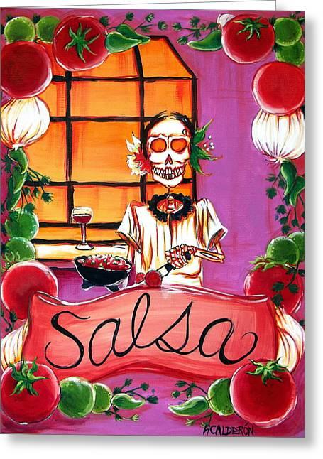 Chili Greeting Cards - Salsa Greeting Card by Heather Calderon