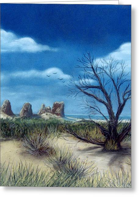 Arch Pastels Greeting Cards - Salt Cedar at Arches Greeting Card by Jan Amiss