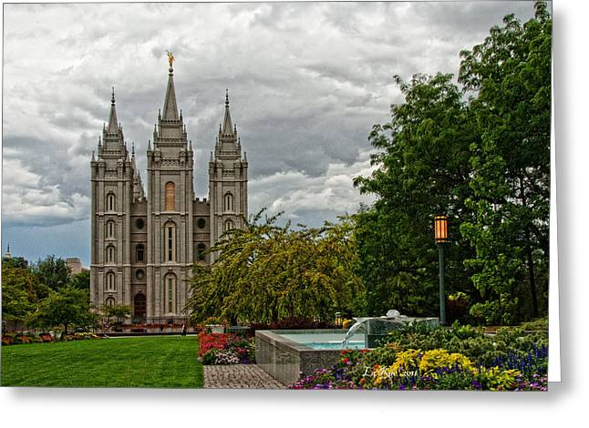 Salt Lake City Temple Grounds Greeting Card by La Rae  Roberts