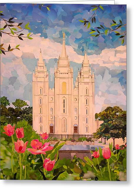 Recently Sold -  - Religious Mixed Media Greeting Cards - Salt Lake City Temple Greeting Card by Robin Birrell