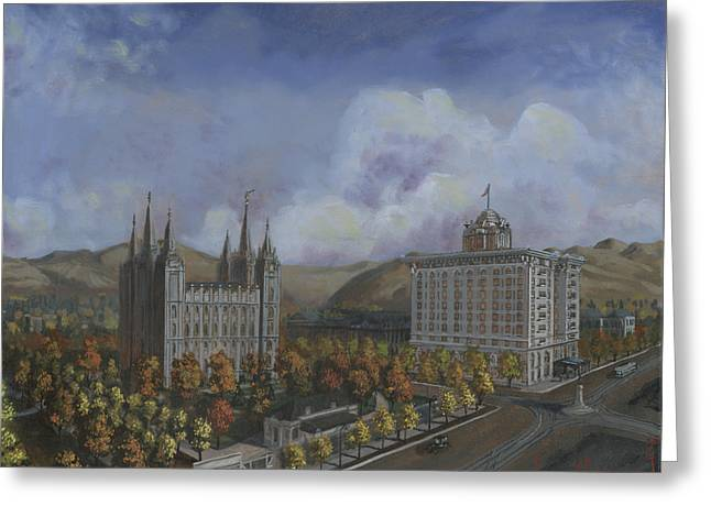 Salt Lake Temple Greeting Cards - Salt Lake City Temple Square Nineteen Twelve Right Panel Greeting Card by Jeff Brimley
