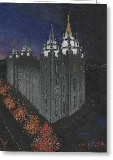 Lds Temples Greeting Cards - Salt Lake Temple Christmas Greeting Card by Jeff Brimley