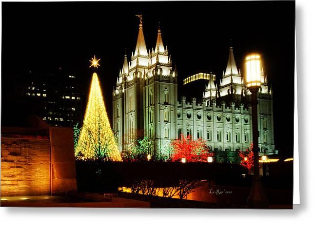 Salt Lake City Temple Greeting Cards - Salt Lake Temple Christmas Tree Greeting Card by La Rae  Roberts