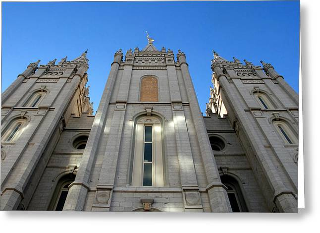 Neo-gothic-style Greeting Cards - Salt Lake Temple Greeting Card by David Lee Thompson