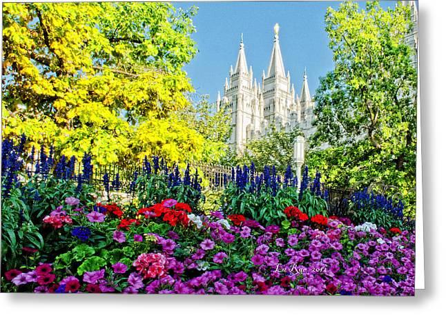 Utah Temple Photography Greeting Cards - Salt Lake Temple Petunia Greeting Card by La Rae  Roberts