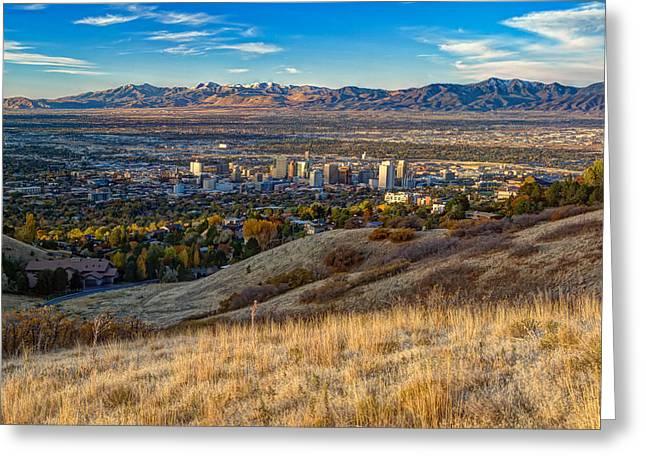 Salt Lake City Temple Greeting Cards - Salt Lake Valley Greeting Card by Utah Images