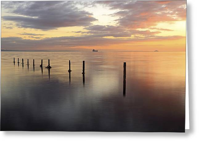 Sunset Seascape Greeting Cards - Saltcoats Seascape Greeting Card by Grant Glendinning