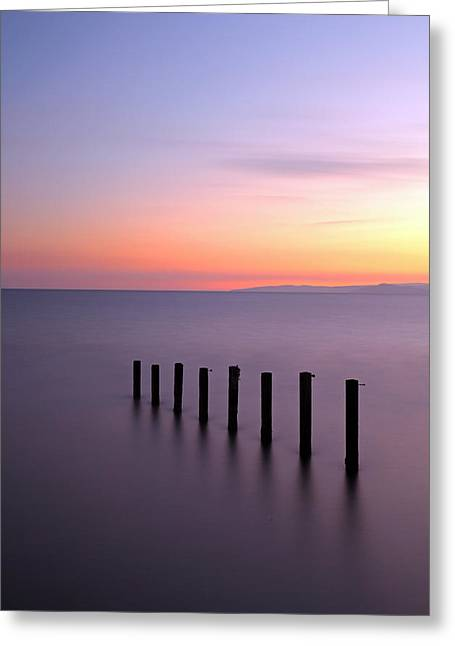 Sunset Seascape Greeting Cards - Saltcoats Sunset Greeting Card by Grant Glendinning