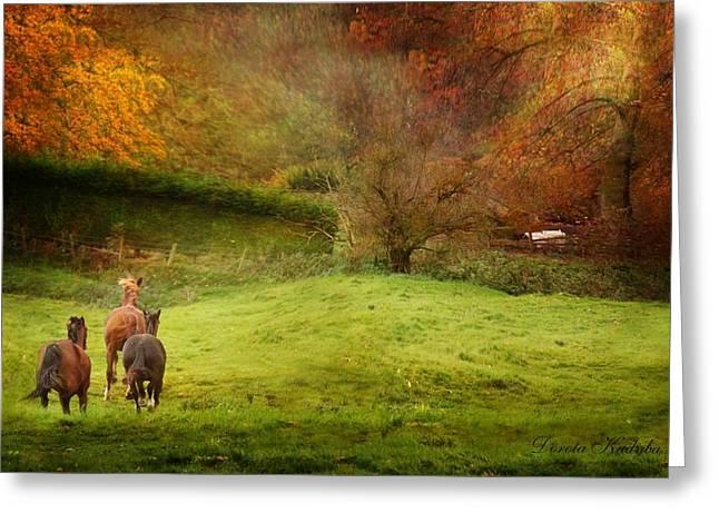 Horse Run Greeting Cards - Salthrop Park Greeting Card by Dorota Kudyba