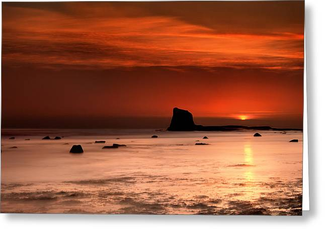 Ocean. Reflection Greeting Cards - Saltwick Bay Dawn Greeting Card by Svetlana Sewell