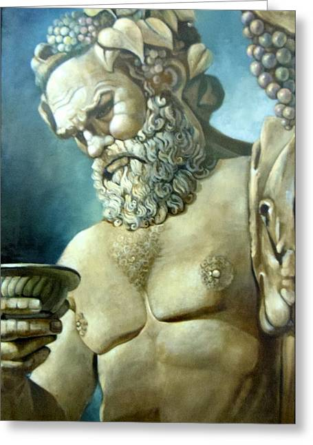 Greek Sculpture Paintings Greeting Cards - Salutations from Bacchus Greeting Card by Geraldine Arata