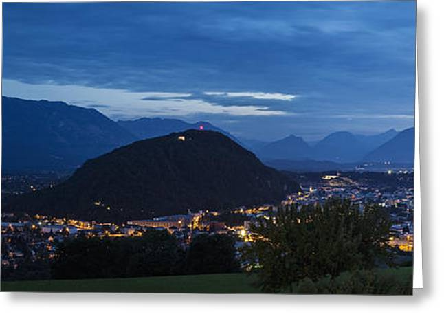 Salzburg Greeting Cards - Salzburg, Austria, at Night Greeting Card by Jon Boyes