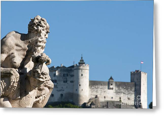 Salzburg Castle Seen From Mirabell Palace Gardens Greeting Card by Andrew  Michael