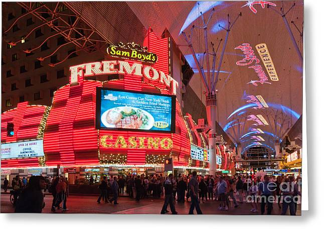 Las Vegas Greeting Cards - Sam Boyds Fremont Casino Greeting Card by Andy Smy