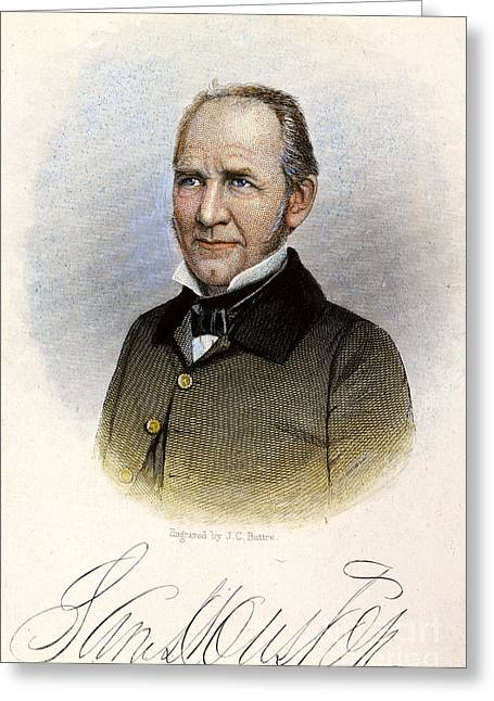 Statesman Greeting Cards - Sam Houston ( 1793-1863) Greeting Card by Granger