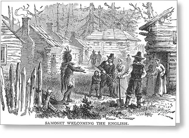 Log Cabins Greeting Cards - Samoset: Plymouth Colony Greeting Card by Granger