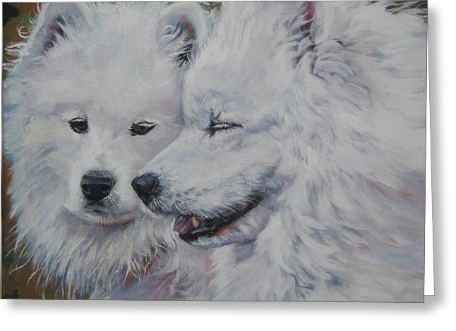 Conversations Greeting Cards - Samoyed Conversation Greeting Card by Lee Ann Shepard