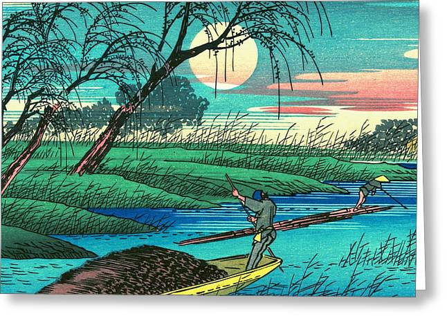 Moonlight On The River Greeting Cards - Sampans on the Ohta River Greeting Card by Padre Art