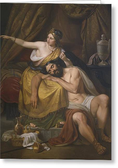Israelite Greeting Cards - Samson and Delilah Greeting Card by Jose Salome Pina
