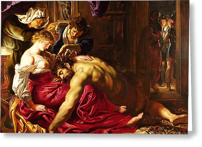 Treason Greeting Cards - Samson and Delilah Greeting Card by Pg Reproductions