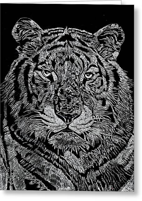 Lions Glass Art Greeting Cards - Samson Greeting Card by Jim Ross
