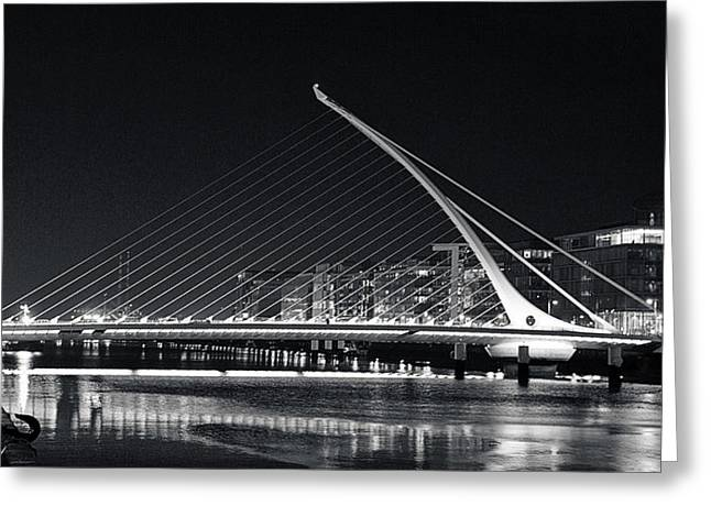 Cityscape Pyrography Greeting Cards - Samuel Beckett Bridge Greeting Card by Ana Martinez