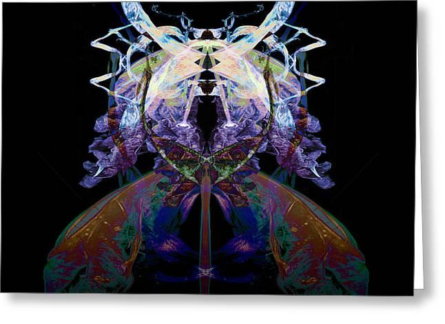 Samurai Bug Plant Greeting Card by David Kleinsasser