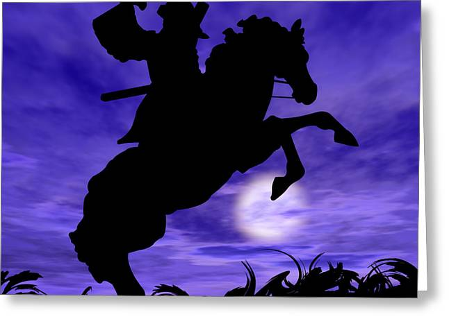 Lone Horse Digital Greeting Cards - Samurai on Horse Greeting Card by Okee Stiles