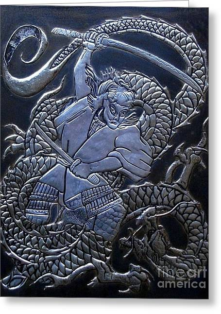 Fantasy Reliefs Greeting Cards - Samurai vs Dragon Greeting Card by Cacaio Tavares