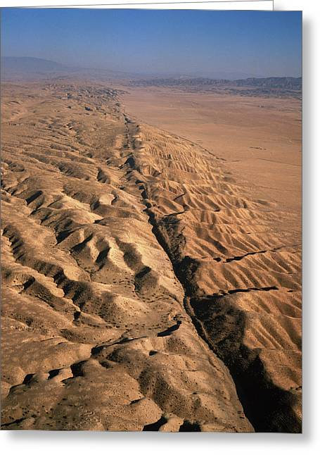 Fault Greeting Cards - San Andreas Fault, Aerial View Greeting Card by David Parker