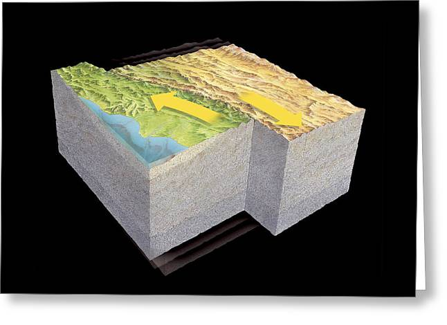 The Big Three Greeting Cards - San Andreas Fault Earthquake, Art Greeting Card by Gary Hincks