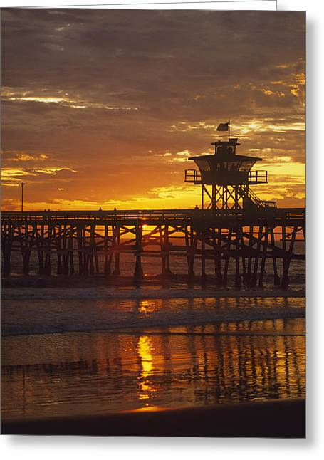 San Clemente Pier Greeting Cards - San Clemente Lifeguard tower and pier at sunset Greeting Card by Cliff Wassmann