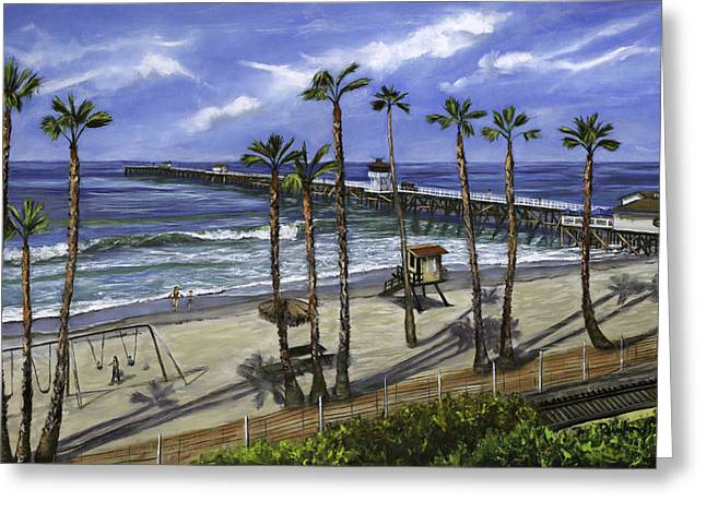 Clemente Paintings Greeting Cards - San Clemente Pier Greeting Card by Lisa Reinhardt