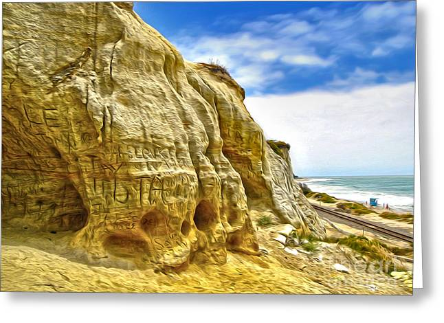 San Clemente Skull Rock Greeting Card by Gregory Dyer