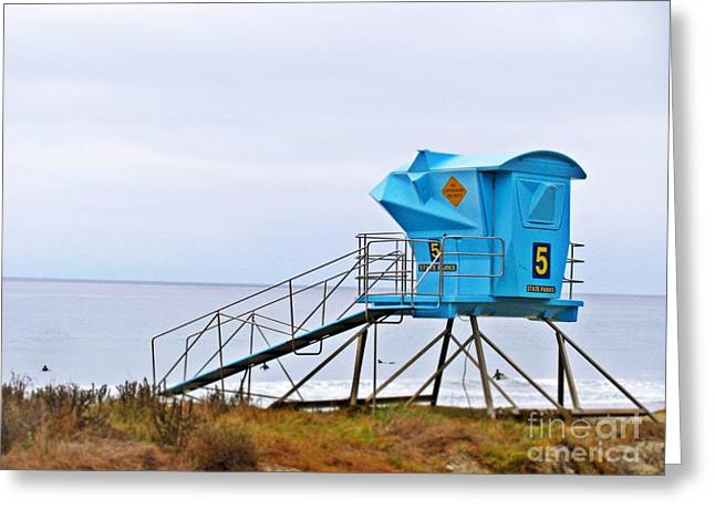 San Clemente State Beach Lifeguard Tower 5 Greeting Card by Traci Lehman