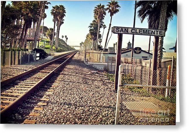 San Clemente Train Tracks Greeting Card by Traci Lehman