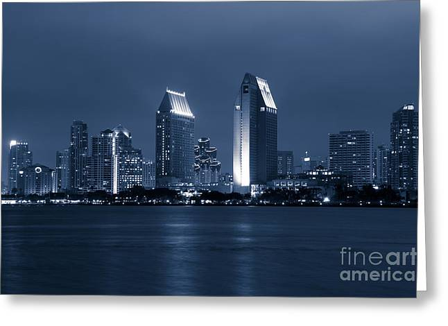 San Diego Bay Greeting Cards - San Diego at Night Greeting Card by Paul Velgos