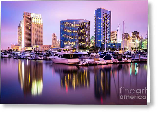 Sailboat Photos Greeting Cards - San Diego at Night with Marina Yachts Greeting Card by Paul Velgos