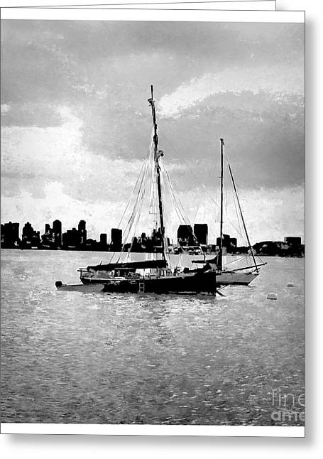 California Ocean Photography Paintings Greeting Cards - San Diego Bay Sailboats Greeting Card by RJ Aguilar
