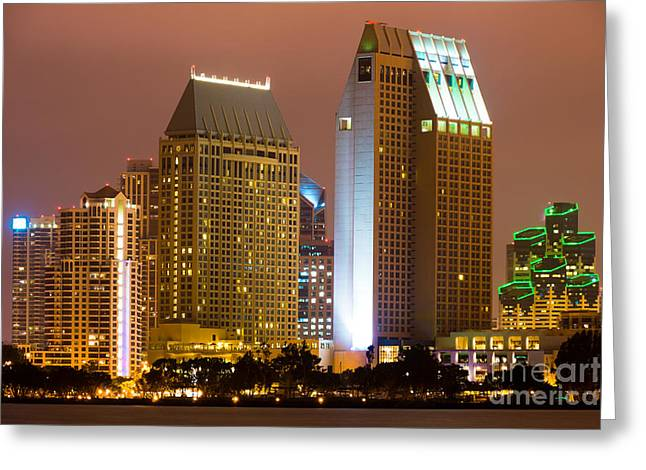 San Diego Bay Greeting Cards - San Diego City at Night Greeting Card by Paul Velgos