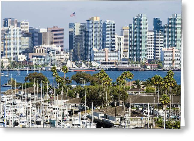 San Diego Cityscape Greeting Card by MaryJane Armstrong