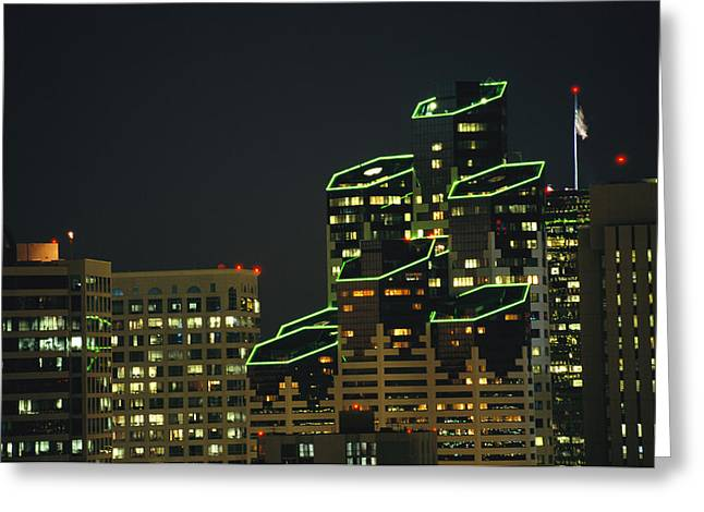 Art Of Building Greeting Cards - San Diego High Rises Brightly Lit Greeting Card by Karen Kasmauski