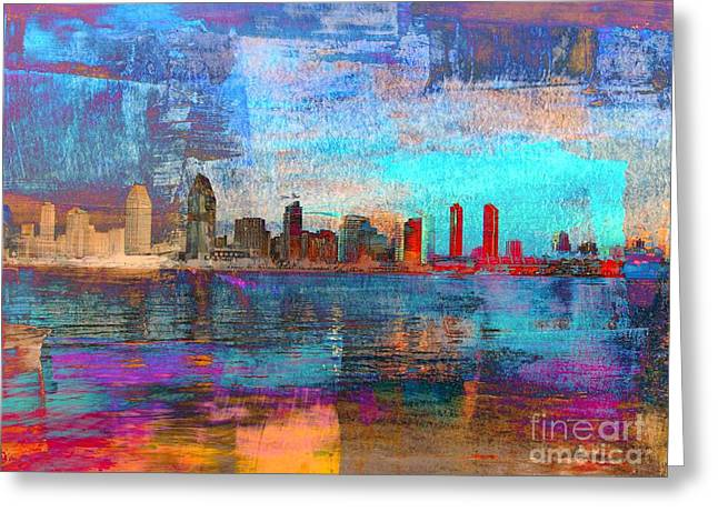 Californian Mixed Media Greeting Cards - San Diego Skyline Greeting Card by Irina Hays